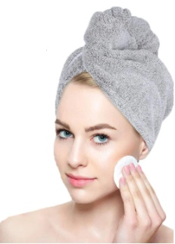 model with towel on head